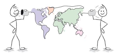 personnages qui discutent à travers le monde