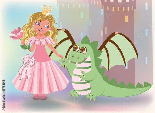 Foto op Aluminium Kasteel Cute princess with rose and dragon, Happy Saint George card