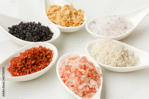 Variety of different sea salts
