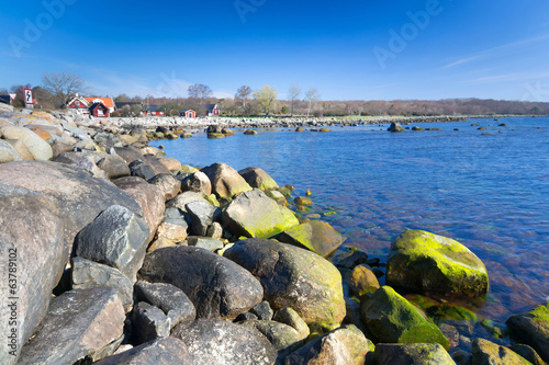 Idyllic Swedish sea bay in spring season