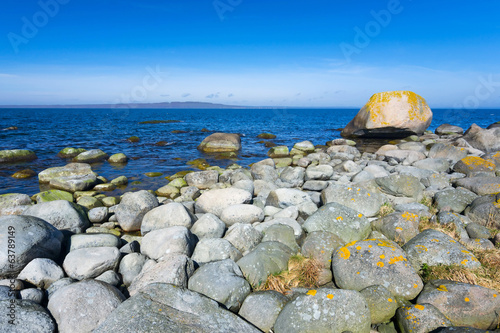Rocky Swedish coast in april season