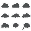 Black and white cloud shapes vector template.