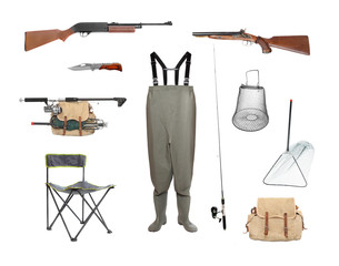 Great collection of a fishing and hunting equipment.