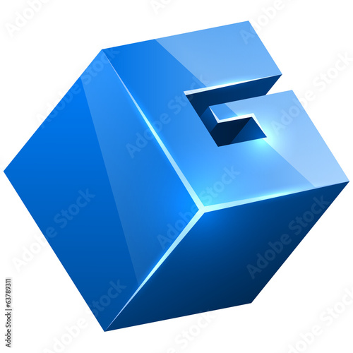 3D blue glossy G sign isolated on white