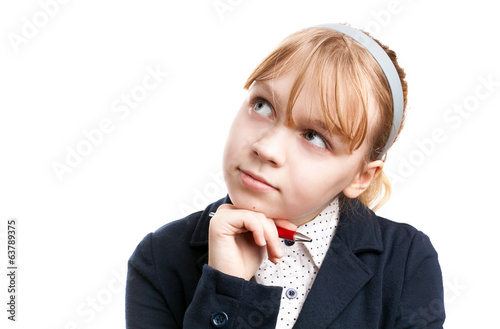 Closeup portrait of blond Caucasian thinking schoolgirl  isolate