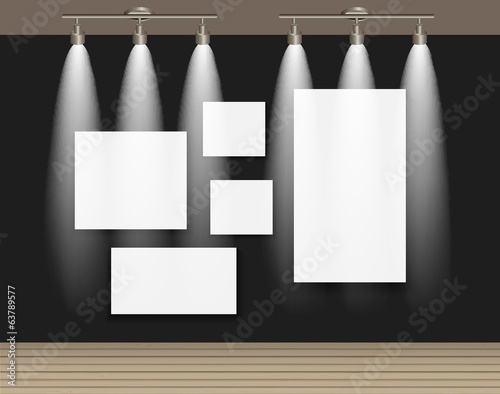Frame on Wall for Your Text and Images, Vector Illustration