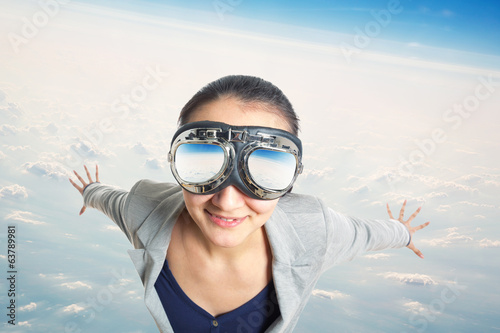 Young woman wearing in  aviator goggles