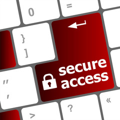 secure access, close up view on conceptual keyboard, Security