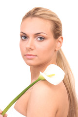 Beautiful young woman with white calla
