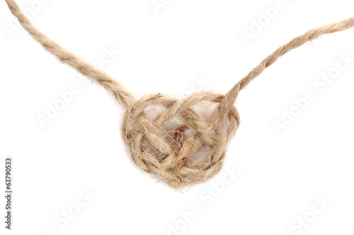Heart shape from rope, isolated on white