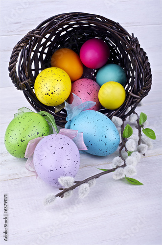 Easter eggs on a light background
