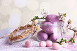 canvas print picture - Composition with Easter eggs in glass jar and blooming branches