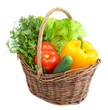 canvas print picture - Composition with raw vegetables in wicker basket isolated