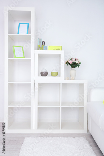 New white furniture with price on light background
