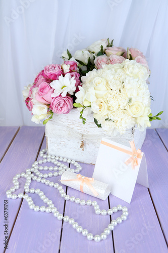 Beautiful wedding composition with flowers