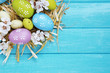 canvas print picture - Easter composition with flowering branches