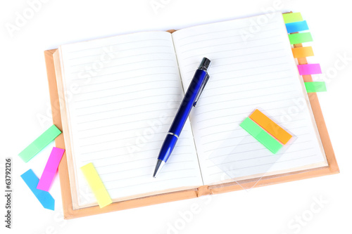 Notebook, pen, and stickers isolated on white