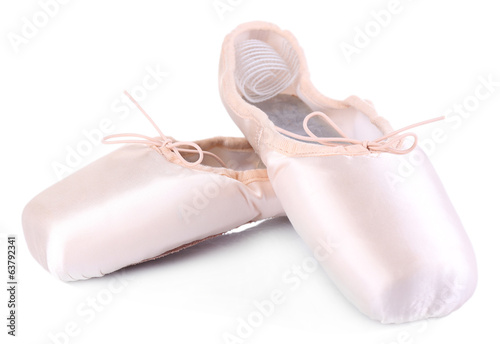 canvas print picture Ballet pointe shoes isolated on white
