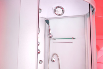 Shower cabin in modern bathroom