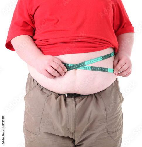 Fat man holding measuring tape. Conceptual photo of weight
