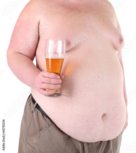 Fat man holding glass of beer, isolated on white