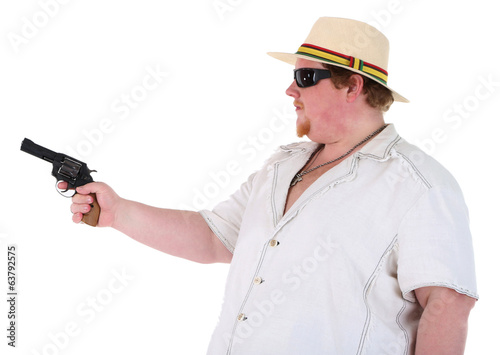 Fat man with gun isolated on white