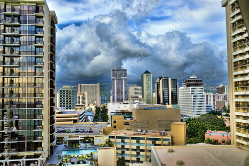 HDR image of Waikiki,Hawaii Skyline