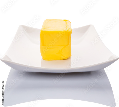Butter Over White Background