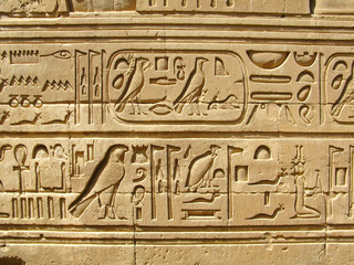 Temple of Kom Ombo, Egypt: ancient egyptian hyeroglyphs