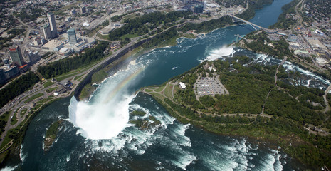 Aerial Niagara Falls with rainbow