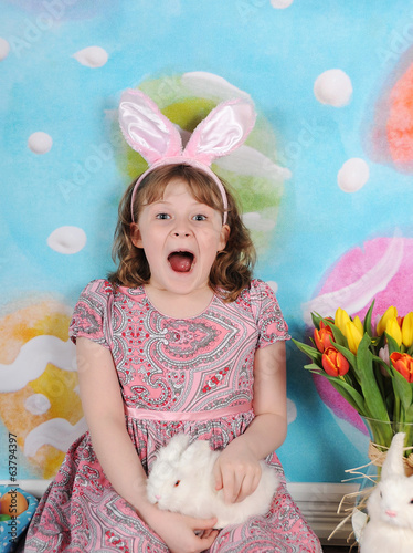 girl excited for easter