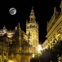 Giralda tower at night, Seville (Andalusia), Spain.