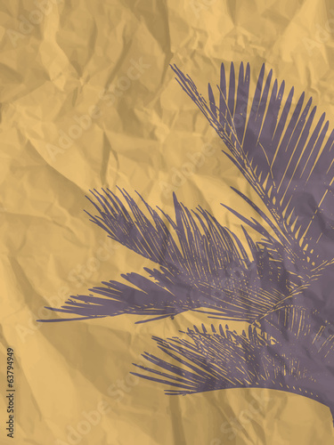Purple palm leaf on yellow crumpled paper texture