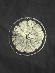 Orange slice illustration on black paper texture background