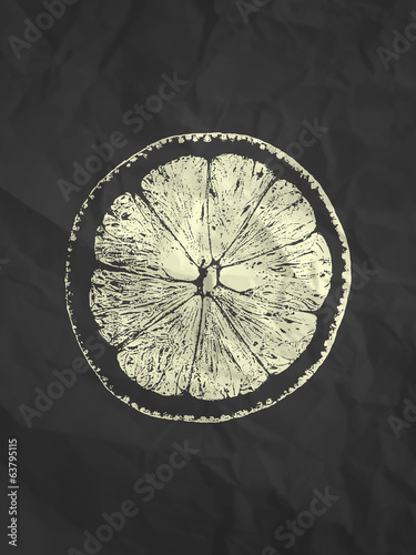 Orange slice illustration on black paper texture background