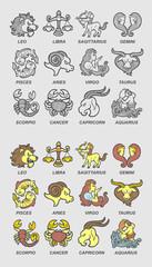 Zodiac Icons Sketch Vector.