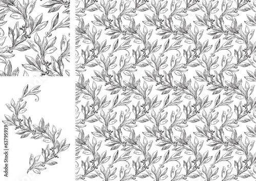 Vintage Vector seamless pattern with laurel leaves