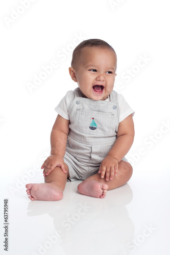 Baby Boy Laughing and Looking off to the Side of Frame