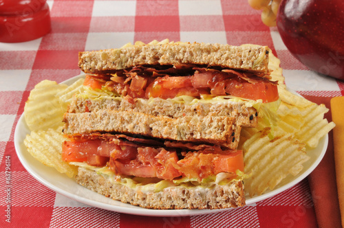 BLT sandwich on whole grain bread