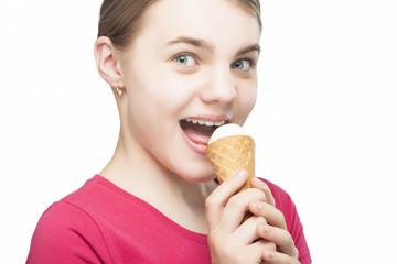 Happy Cute Caucasian Teenage Girl With Ice-Cream Cone