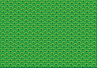 Abstract Oriental Green Wave Wallpaper Background