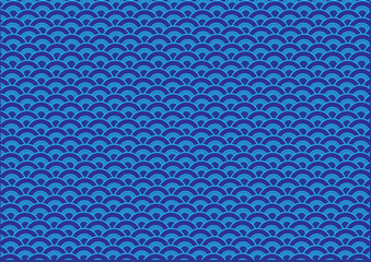 Abstract Blue Oriental Wave Pattern Background