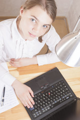 Teenage Girl Working With Laptop