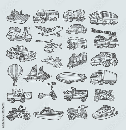 Transportation Icons Sketch. Easy to use, edit or change color.