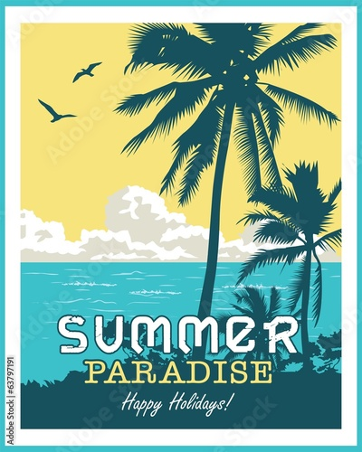 Summer beach palm tree vector background