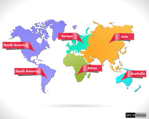 multicolored world map macro-geographical regions.