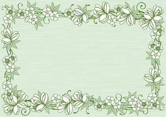 Retro floral vector border at engraving style.