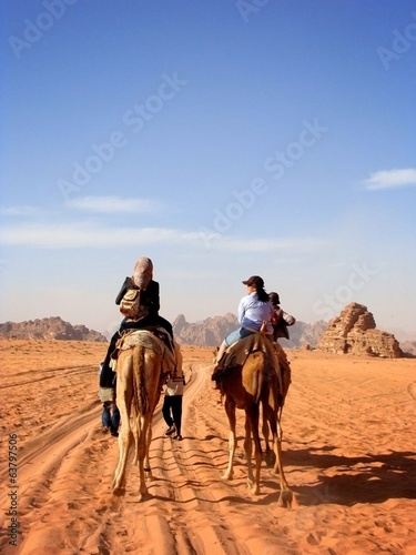 Women ride camels in desert