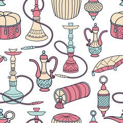 Hookah seamless pattern
