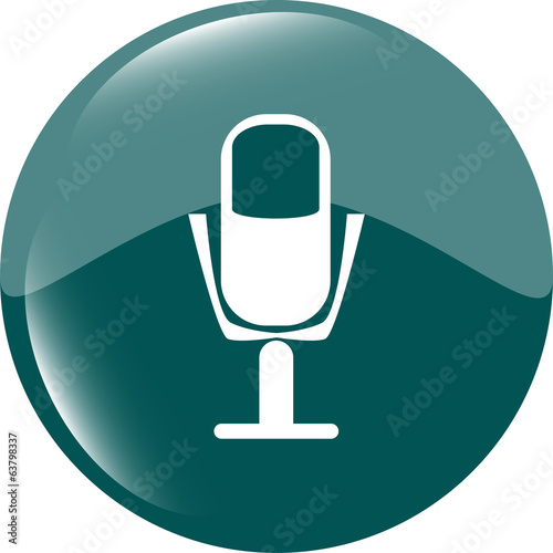 microphone icon web button isolated on white background